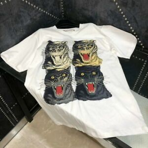 Brand New SMALL GUCCI Vintage Logo with 4 Tiger Face Cotton Tshirt ... c75a60913a0