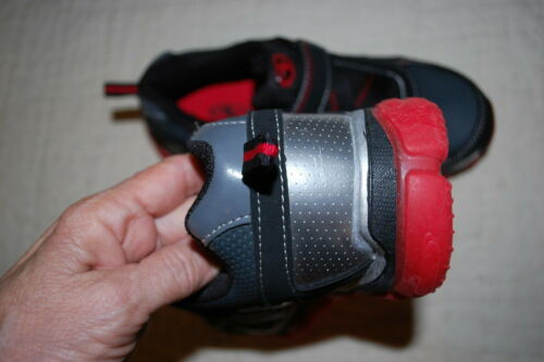 Details about  /Boys Athletic Shoes GRAY BLACK RED SILVER Easy Fasten RUGGED SOLE Cushioned SZ 4