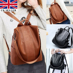 New Women s Leather Backpack Anti-Theft Rucksack School Shoulder Bag ... 8a6ba59f30
