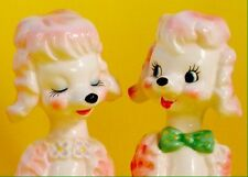 Retro! Pink Poodle Vintage Anthropomorphic Salt and Pepper Shakers Norcrest Tall