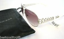 NEW GUESS SILVER RINGS,WHITE FRAME+PURPLE 100% UV LENS AVIATOR SUNGLASSES+POUCH