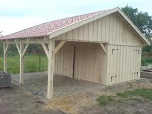holzgarage mit carport 6m x 6m satteldach fertiggarage carport anbau ebay. Black Bedroom Furniture Sets. Home Design Ideas