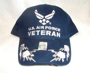 US-Air-Force-Emblem-Lightning-Bolts-High-Quality-Ball-Cap-w-Free-Flag-T-Shirts