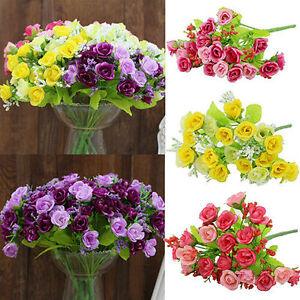 1-Bouquet-Rose-Fleur-Artificielle-Plastique-Soie-Mariage-Bureau-Maison-Decor