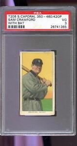 1909-T206-Sweet-Caporal-Sam-Crawford-With-Bat-PSA-3-Graded-Baseball-Card