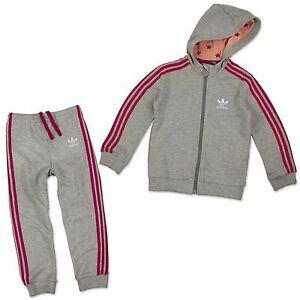 Dettagli su Adidas Originals Tuta da Bambino Star Sport Completo Grigio Rosa Stelle 92