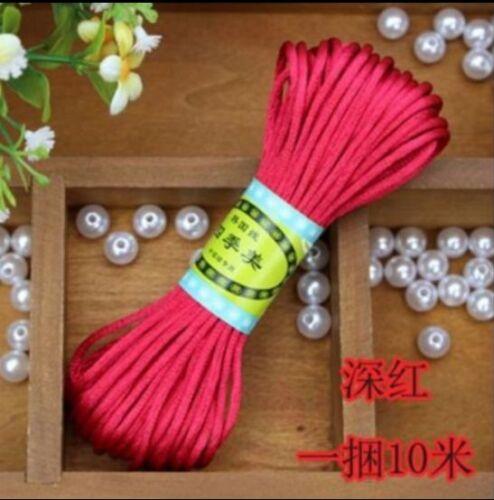 20Meter Chinese Knot Satin Nylon Braided Cord Macrame Beading Rattail Cords 3mm