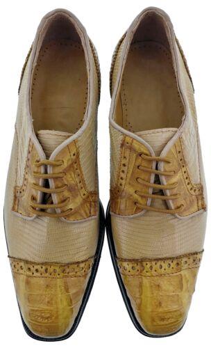 Mens Genuine Sand Lizard Exotic Honey Crocodile Dress Shoes