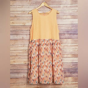 Details about Maurices Orange Coral Teal Zip up Dress Plus Size 3X  Sleeveless Midi