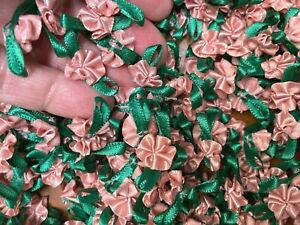 "Ribbon Flowers 1/2"" Hand Sewn Leaf Bows Peachy Pink 10pcs"