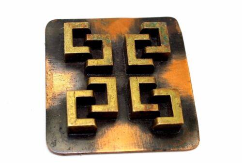 EARLY Vtg BLACK Modernist WINIFRED MASON Copper/Br
