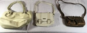 THREE-WOMENS-BROWN-BEIGE-FAUX-LEATHER-SHOULDER-STRAPS-EVENING-PURSES-BACKPACKS
