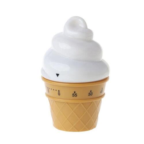 Cute Ice Cream Shape Mechanical Timer Reminder Countdown Alarm Clock LC