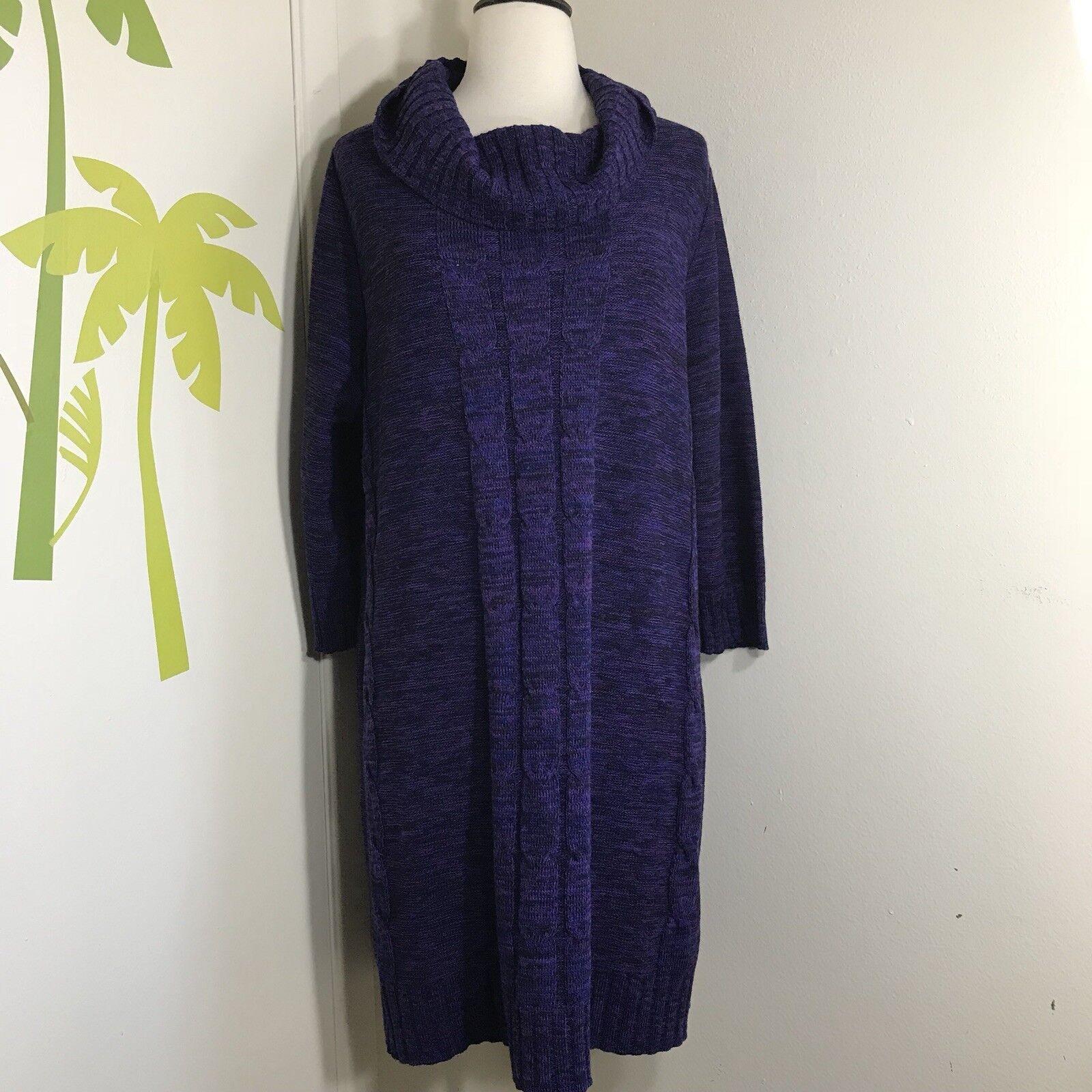 NWT Lane Bryant Purple Cable Knit Sweater Dress Sz 14 16 Acrylic Orig