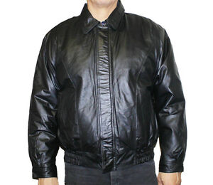 b58d75b8ebc Details about Men's Bomber Leather Jacket Zipper Closure Soft Leather Only  $89.99 Style#22006