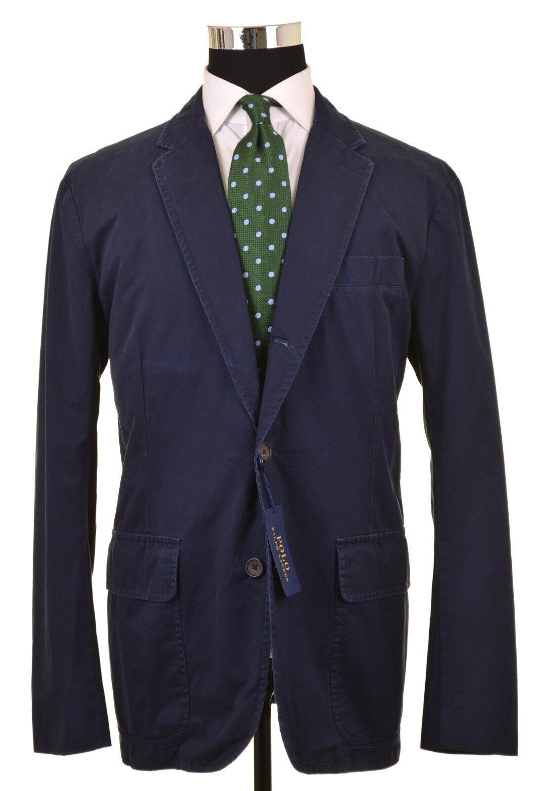 NEW Current Model Polo Ralph Lauren Garment Dyed Navy Cotton Blazer Coat XL NWT