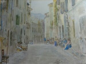 Antique-Original-Watercolour-Painting-of-Italy-lace-makers-Edward-Renard-signed