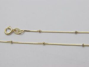 Pure 10 K Solid Gold Box Necklace With Bead Real Gold Beaded Box Chain by Kap
