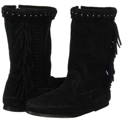 Minnetonka Women/'s Luna Fringe Mid Calf Zip Closure Suede Winter Comfort Boots