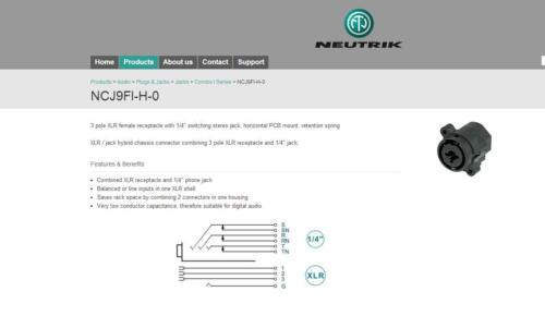 1X NCJ9FI-H-0 3-POLE Neutrik XLR FEMALE COMBO JACK 1//4 IN STEREO JACK LATCHLESS
