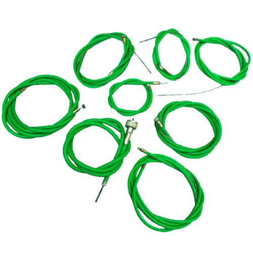 VESPA VBB//VLB//VNB//SUPERSPRINT COMPLETE NYLON LINED FRICTION FREE CABLE KIT GREEN