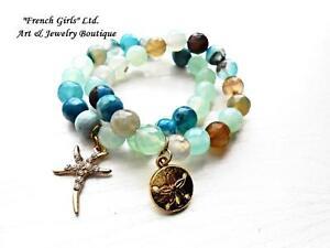 Image Is Loading Agate Blue Aquamarine Bracelets Set Gemstone Starfish Seas
