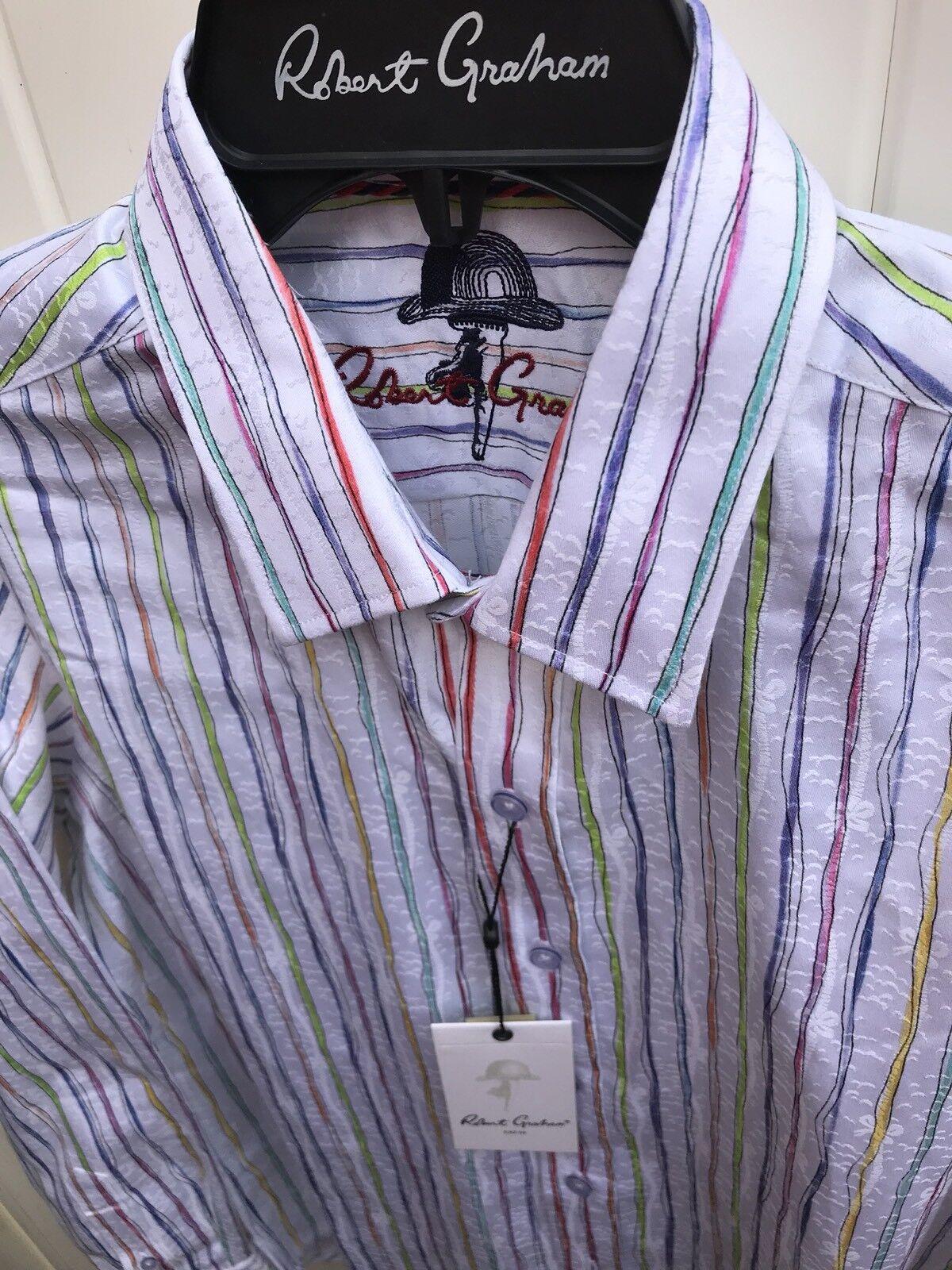 ROBERT GRAHAM  Men's Distress Multicolor Striped Woven Casual Shirt,Sz S