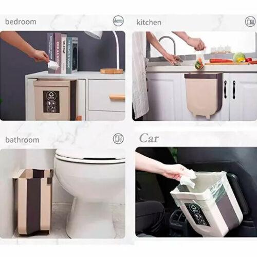 9L Wall Mounted Folding Waste Bin Kitchen Cabinet Door Hanging Trash Garbage Can