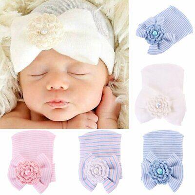 Newborn Baby Infant Cute Girl Toddler Comfy Bowknot Soft Hospital Cap Beanie Hat