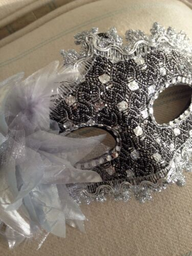 Mascarade Or Ball Tie On Mask Fancy Dress Mask Black//silver  Lace  Mask