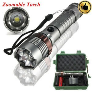 50000-LM-Tactical-XML-T6-LED-Zoom-Flashlight-Rechargeable-18650-AC-Car-Charger