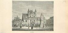 Les Halles de Schaerbeek à Bruxelles Brussel GRAVURE ANTIQUE OLD PRINT 1880