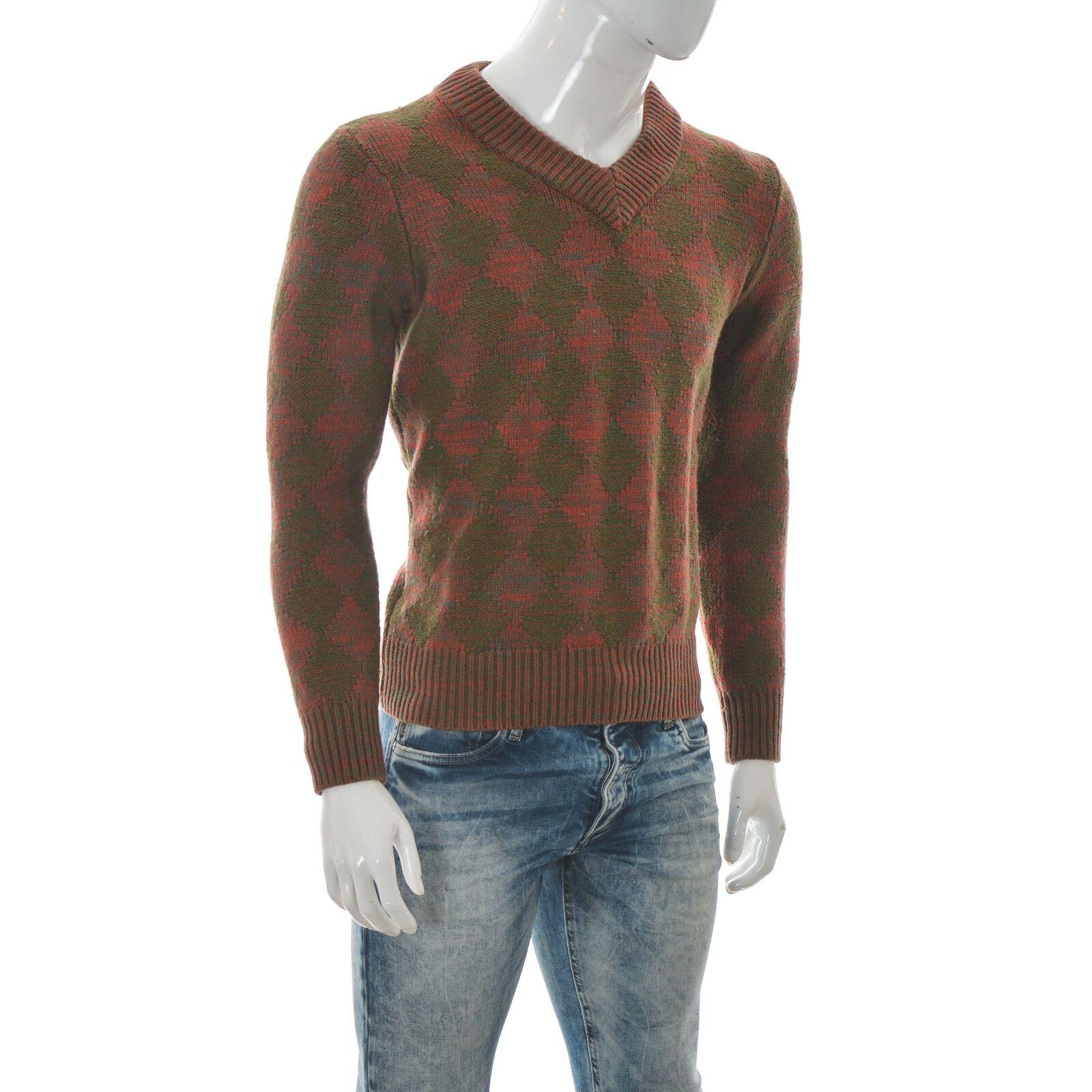 Diesel Black Gold Men's Chunky Knit V-Neck Long Sleeve Pullover Sweater Shirt