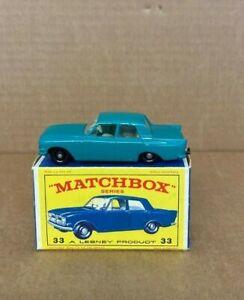 Vintage-Matchbox-Lesney-No-33b-Ford-Zephyr-6-en-caja-original-emitido-1963-C