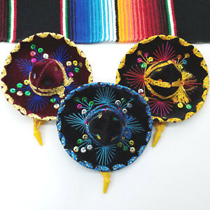 Image is loading Set-Of-3-Mexican-Mini-Mariachi-Hats-Party- 225d1ae6ea1