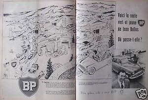 PUBLICITE-1958-BP-VOICI-LA-ROUTE-VERT-ET-JAUNE-DE-JEAN-BELLUS-ADVERTISING