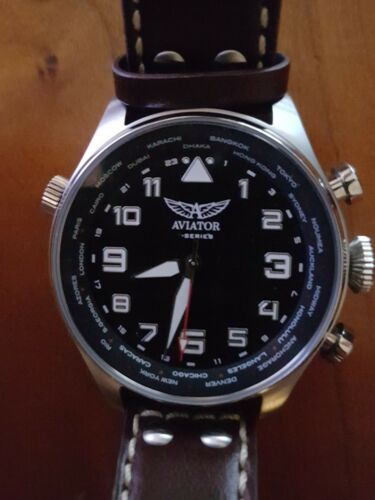 0994c7fe3f63fb Aviator F Series Smart Pilot Watch Bluetooth Brown Leather AVW79215G327    eBay