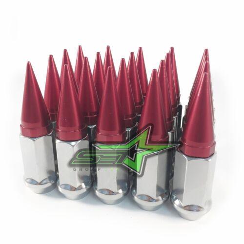 24 CHROME RED SPIKE LUG NUTS 12x1.5OFFROAD WHEELS SILVERADO SIERRA SUBURBAN
