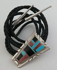 Quality Elongated Sterling Silver & Intricate Mosaic Inlay Bolo Tie