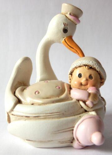 Deko Storch mit Baby hellblau oder rosa zur Taufe Geburt Hochzeit Höhe 6,5cm