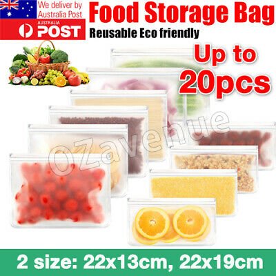 10Pcs Silicone PEVA Fresh Zip Lock Bags Reusable Food Freezer Storage Kitchen