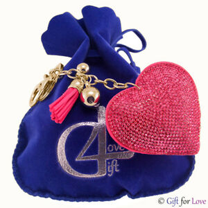Portachiavi-donna-oro-Swarovski-Elements-originale-G4Love-cristalli-cuore-strass