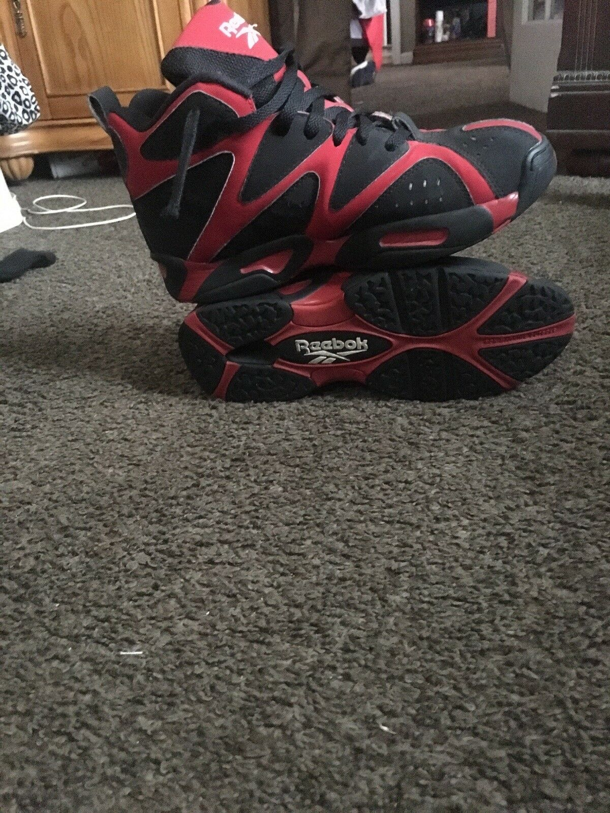 Men's Reebok Kamikaze 1 Sneakers Size 9.5 Red And Black