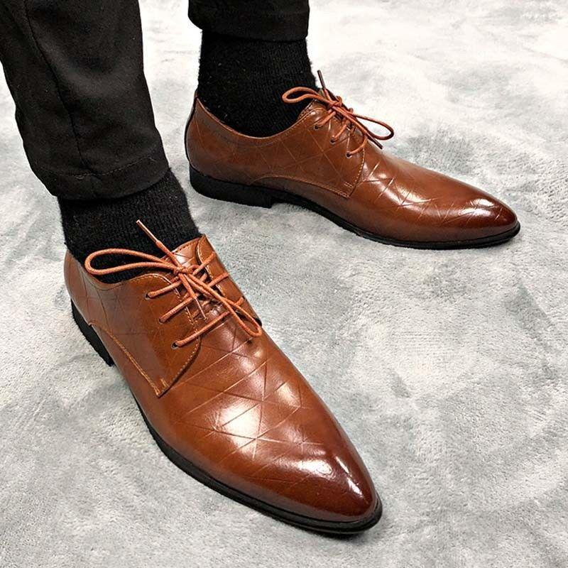 Men's Oxford Leather shoes Pointed Toe Business Office Work Formal Dress Lace Up