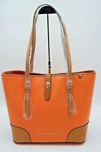 Dooney-amp-Bourke-Claremont-Dover-Coral-Orange-Leather-Shoulder-Bag-Tote-NWT-298