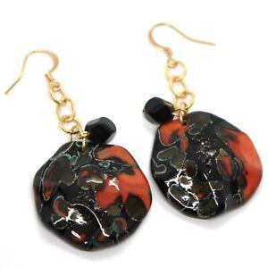 Earrings-Antica-Murrina-Venezia-Hanging-Discs-Wavy-Red-Black-6-CM
