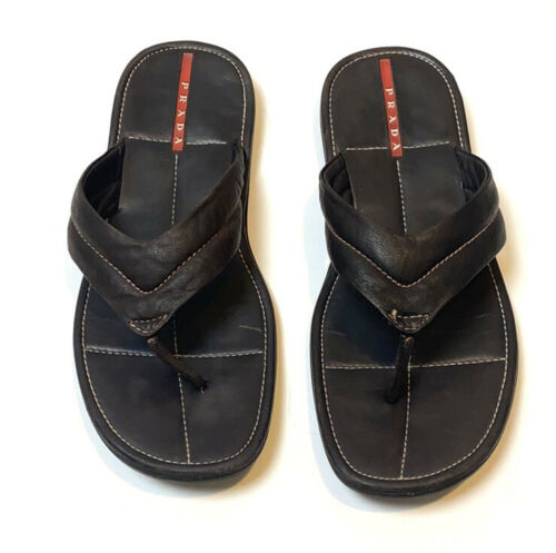 Prada Men's Brown Leather Sandals Size 11 - image 1