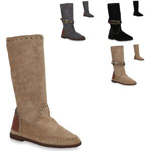 Damen-Stiefel-Mokassins-Keilstiefel-Nieten-Schuhe-823770-Trendy-Neu