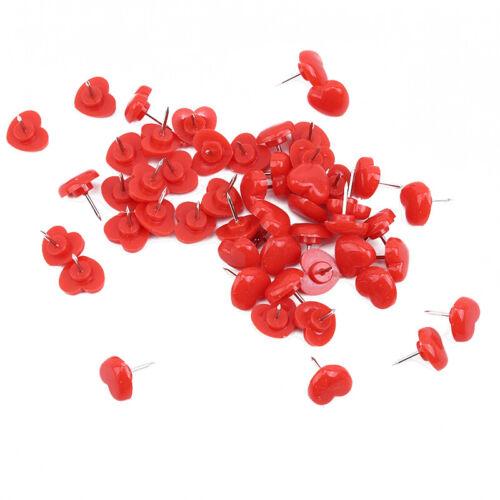 50Pcs Pink Red Heart Push Pins Wall Tacks Decorative Cork Boar Pins Decor KV