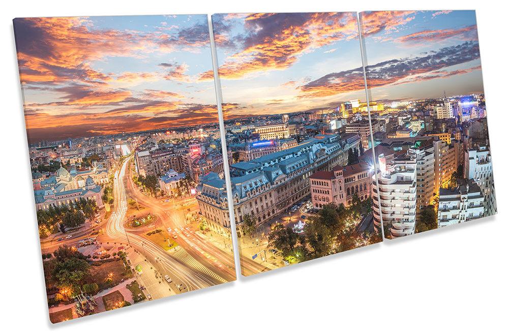 Romania Stadt Skyline Bild CANVAS Wand Kunst TREBLE Drucken